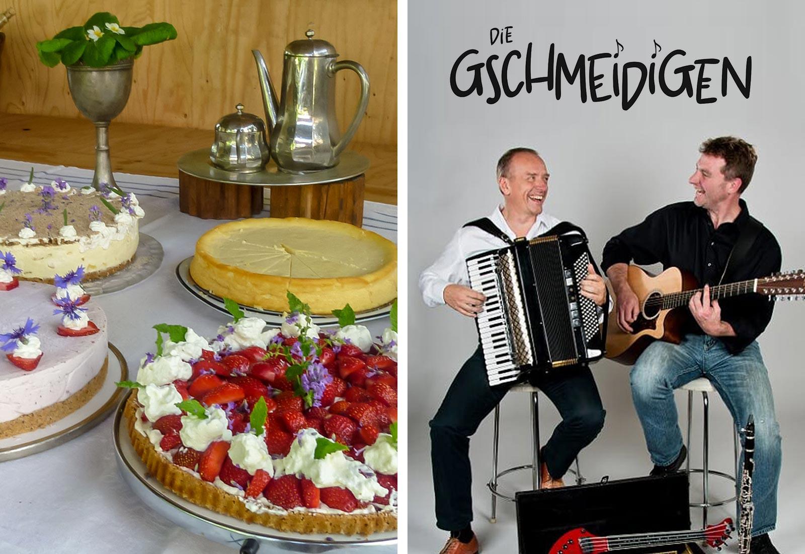 <del>16. Mai 2021</del> Verlegt auf Pfingstmontag, 24. Mai 2021 – ab 15 Uhr: Kaffee & Kuchen / ab 17 Uhr: Die Gschmeidigen